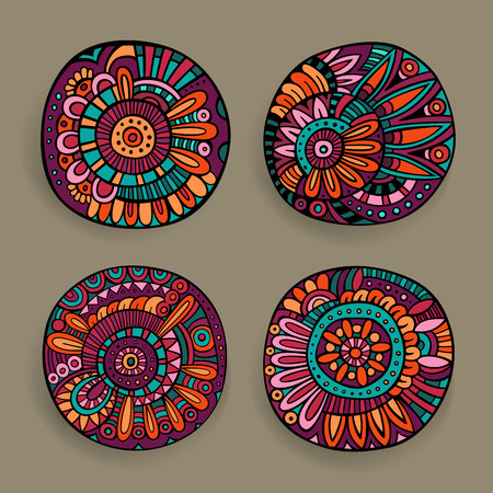 一連の装飾的な手描きベクトル花のデザイン要素