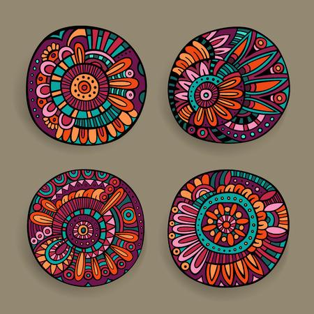 decor graphic: Set di mano decorativi vettoriale disegnato elementi di design floreale