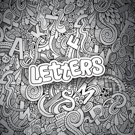 Letters abstract decorative doodles background. Hand-Drawn Vector Illustration Vector