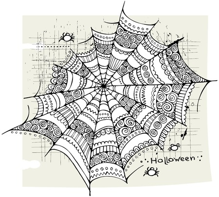 Halloween hand drawn abstract spider web background Vector