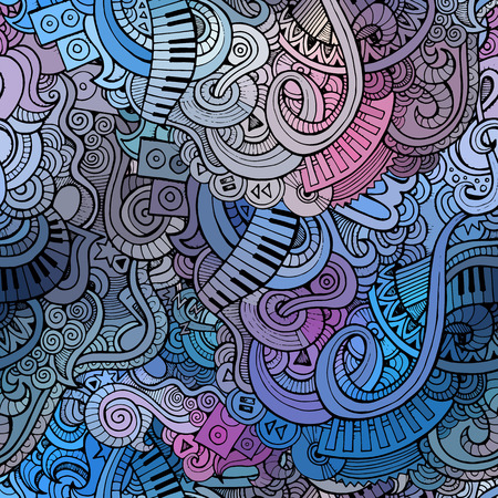 抽象的な装飾的な落書き音楽のシームレスなパターンの背景  イラスト・ベクター素材