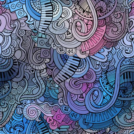 Astratta doodles decorative di musica senza soluzione di continuità di fondo del modello Archivio Fotografico - 28369728