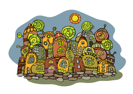 Cartoon fantasy vector fairy tale drawing town