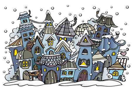 Vector cartoon abstract winter fairy tale town Illustration