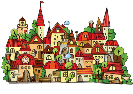 Illustration of fantasy vector fairy-tale drawing town Ilustração
