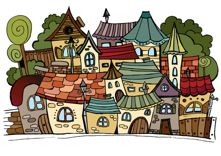 city live: Illustration of fantasy vector fairy-tale drawing town Illustration
