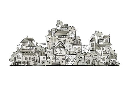 arboles blanco y negro: Vector de dibujos animados del cuento de hadas casas de dibujo. Serie separan lodge.