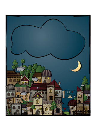 postcard with cartoon vector construction night town Vector