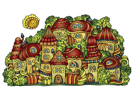 crone: Illustration of fantasy vector fairy-tale drawing town Illustration