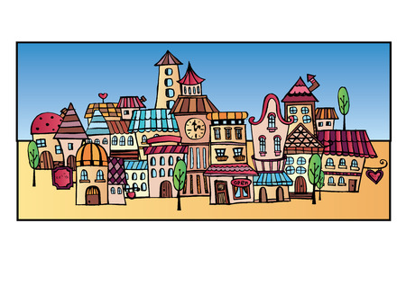 Abstract hand drawn cartoon vector construction town Vector