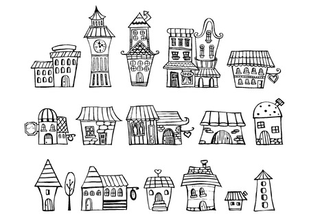 Cartoon vector fairy tale drawing houses. Series separate lodge. Ilustracja