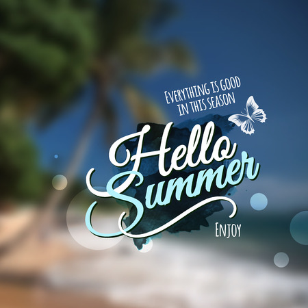 """""""Hello Summer"""" message. Vector abstract blurred background."""