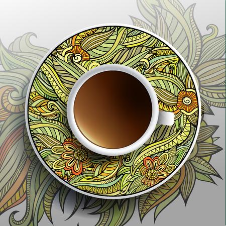 커피와 손의 컵 벡터 그림은 접시와 배경에 꽃 장식을 그려 스톡 콘텐츠 - 28369834