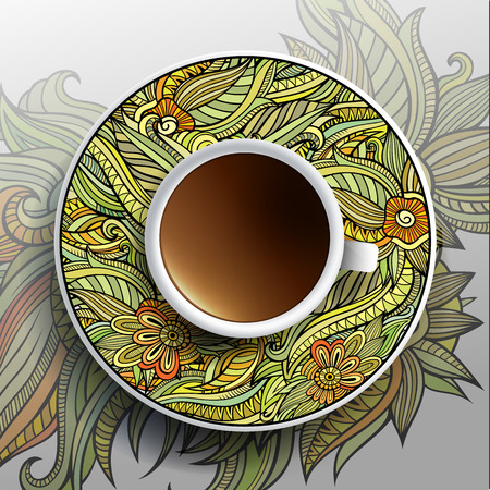 Vector illustratie met een kopje koffie en de hand getekende bloemen versiering op een schotel en achtergrond