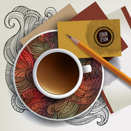 bezel: Vector Cup of coffee, business cards and hand drawn floral ornament on a saucer and background