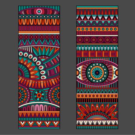 抽象的な装飾的なベクトル民族パターン カード セット