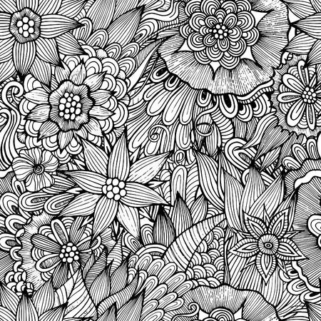 batik pattern: Vector seamless abstract flowers pattern. Endless background Illustration