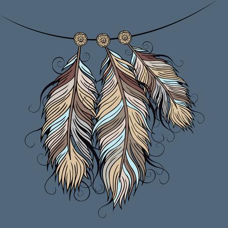 atrapasue�os: Vintage abstracto decorativo Feathers vector �tnica ilustraci�n Vectores