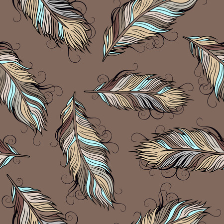 Vintage decorative ethnic vector Feathers seamless pattern Vector