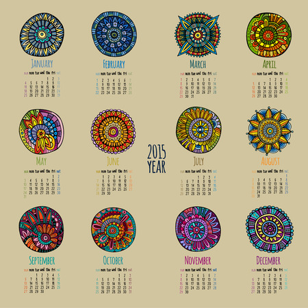 calendar date: Ethnic calendar 2015 year design, English, Sunday start