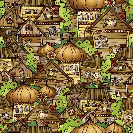 Cartoon fairy tale drawing village Ilustração