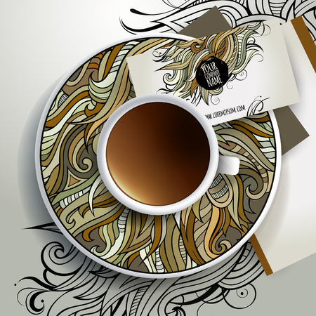 bezel: Vector Cup of coffee and floral ornament