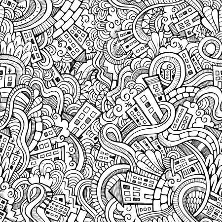 dibujo: Ciudad dibujado garabatos vectores Cartoon mano