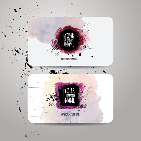 adress: Vector template business cards with watercolor paint abstract background