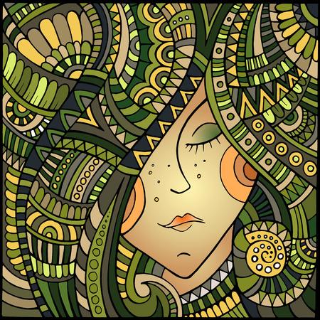 Vector abstract decorative beautiful girl portrait illustration