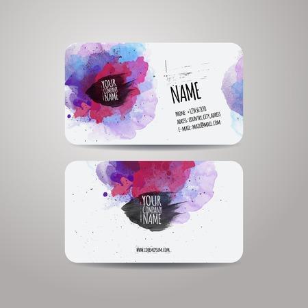 Векторный шаблон визитки с акварелью краски абстрактном фоне