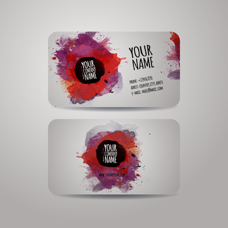 Vector template business cards with watercolor paint abstract background Vector