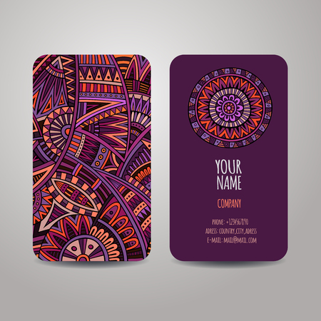 Vector template business cards with ethnic abstract background Vector