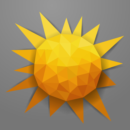 sun flowers: Vector abstract summer triangle background with sun