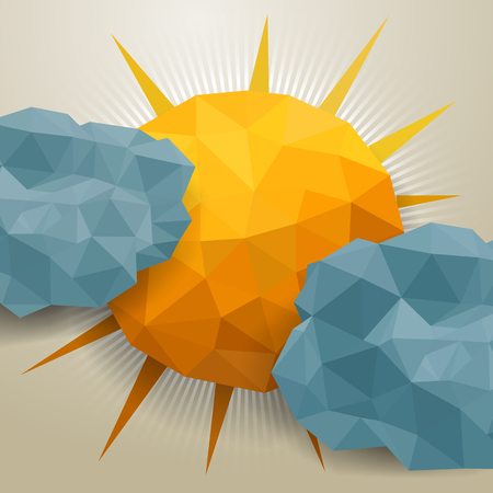 Vector abstract triangle background with clouds and sun Vector