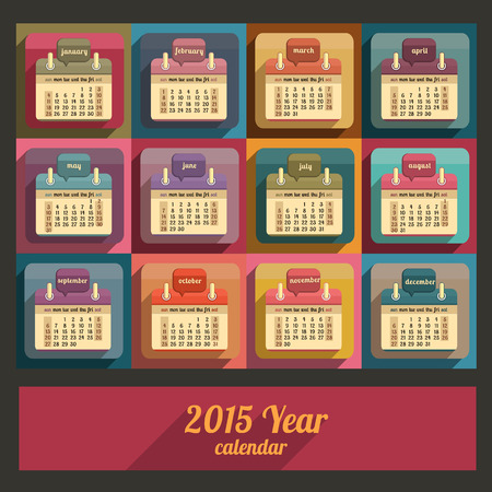 Flat calendar 2015 year design, English, Sunday start Vector