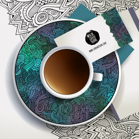 coffee leaf: Vector illustration with a Cup of coffee and hand drawn floral ornament on a saucer and background