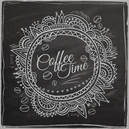 typography vector: Coffee time decorative border. Typography Background On Chalkboard. Vector illustration