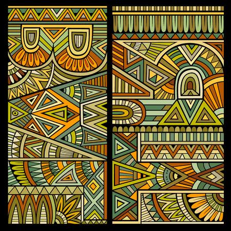 cultura maya: Patrón ornamental vector conjunto étnico abstracto decorativo Vectores