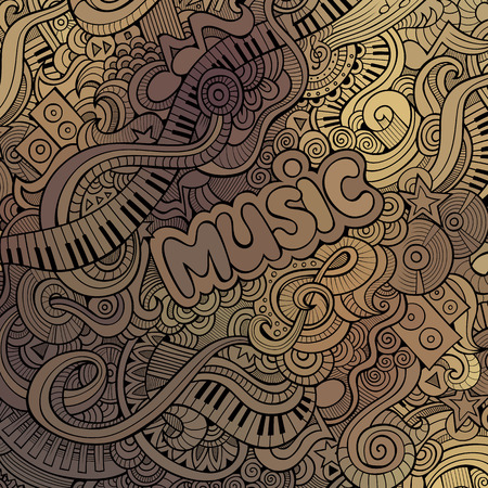 concert poster: Abstract art decorative doodles musical vector background Illustration