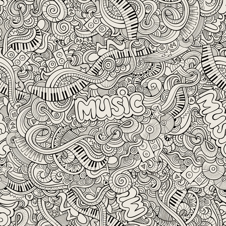 Music Sketchy Doodles. Hand-Drawn Vector Illustration. Seamless pattern Vector