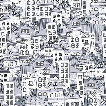 Seamless pattern town houses. Vector abstract illustration Vector