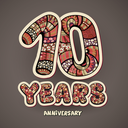 flower age: 10 years anniversary decorative hand lettering vector card