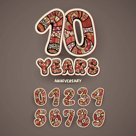 selebration: Anniversary vector decorative hand lettering and numbers set Illustration