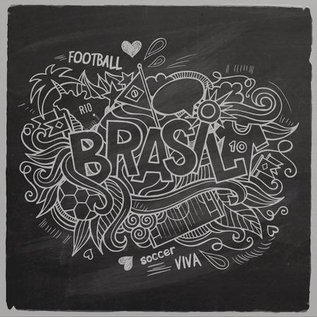footbal: Brazil Summer 2014 Vector footbal hand lettering and doodles elements background