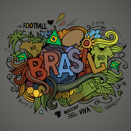 Brasil Summer Vector hand lettering and doodles elements background Vector