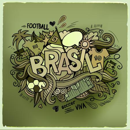 brasil: Brasil Summer Vector hand lettering and doodles elements background