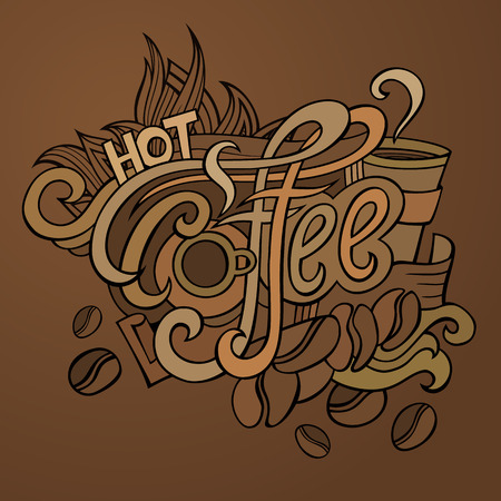 Vector hot coffee hand lettering design illustration