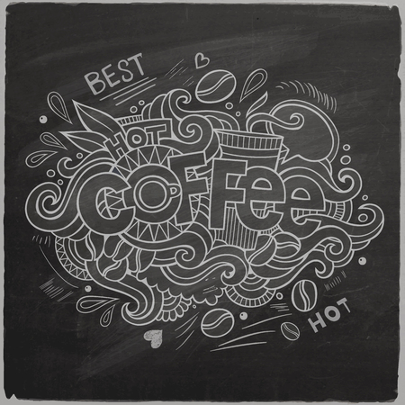 Coffee hand lettering and doodles elements background On Chalkboard. Vector illustration Vector