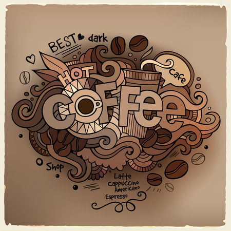 Coffee hand lettering and doodles elements background. Vector illustration Vector