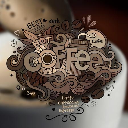 slogan: Elementos letras de la mano Café y garabatos sobre fondo borroso